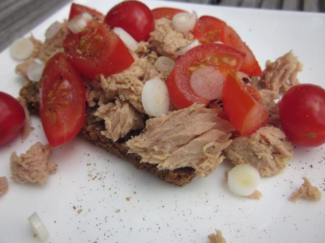 tun, forårsløg, tomat på rugbrød